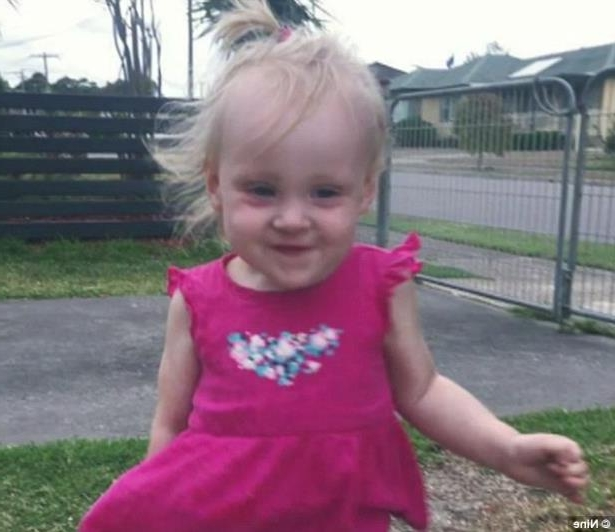 a little girl standing in front of a fence: Hayley Rose (pictured), aged 20-months-old, died as a result of internal trauma after going into cardiac arrest and being rushed to hospital