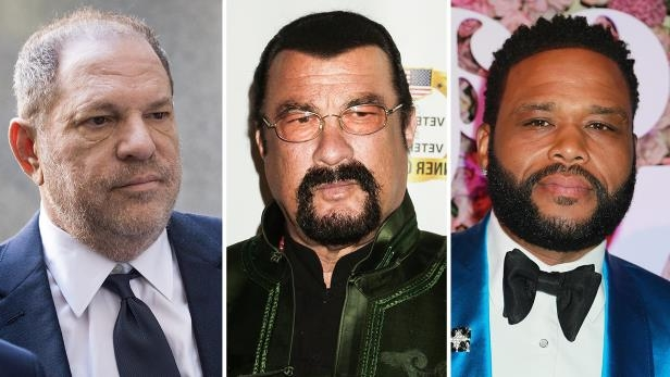 Anthony Anderson, Steven Seagal, Harvey Weinstein are posing for a picture