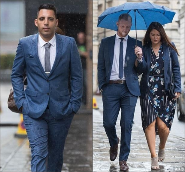 England cricket player Ben Stokes and his wife Clare arrive at Bristol Crown Court today (left) Ryan Ali arrives at Bristol Crown Court today (right)