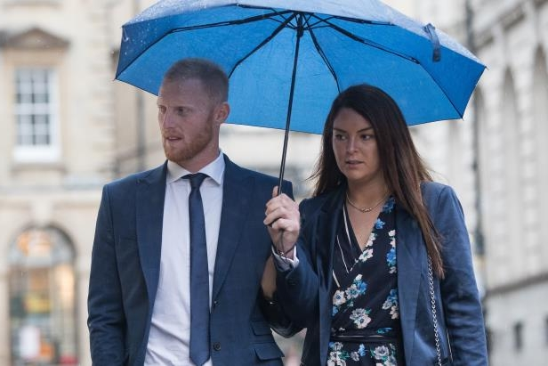 England cricketer Ben Stokes and his wife Clare arrive at Bristol Crown Court accused of affray.