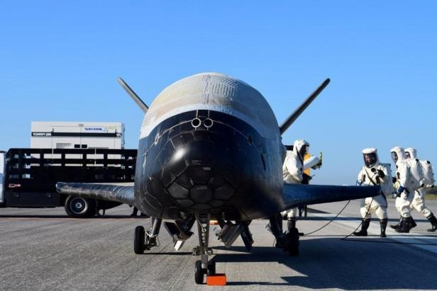 Image: Handout out the U.S. Airforce's X-37B Orbital Test Vehicle mission 4 after landing at NASA's Kennedy Space Center Shuttle Landing Facility in Cape CanaveralThe Air Force's X-37B orbital vehicle would likely be crucial to President Donald Trump's proposed U.S. Space Force. The vehicle's mission remains secret.