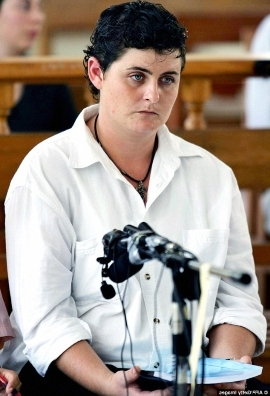 Renae Lawrence looking at the camera: Convicted drug mule Renae Lawrence (pictured at her 2006 trial) will return to Australia when she's released from jail in November