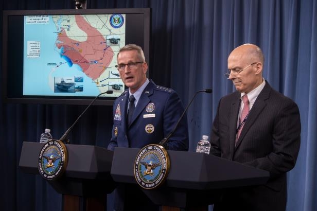 Slide 5 of 71: Assistant Secretary of Defense for Homeland Defense and Global Security Kenneth P. Rapuano and Air Force Gen. Terrence J. O'Shaughnessy, commander, North American Aerospace Defense Command, and commander, U.S. Northern Command, brief the media on Department of Defense preparations for Hurricane Florence at the Pentagon. Pentagon brief in response to Hurricane Florence, Washington DC, USA - 13 Sep 2018