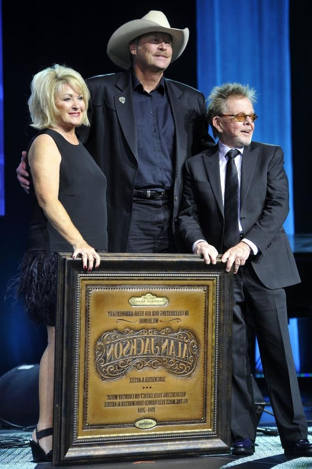 Slide 57 of 65: Paul Williams, left, and Connie Bradley, right, present Alan Jackson with the Heritage Award at the 52nd annual ASCAP Country Music Awards show and dinner Nov. 3, 2014.