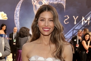 Jessica Biel cuts heavenly figure in white dress as she attends Emmy Awards with Justin Timberlake