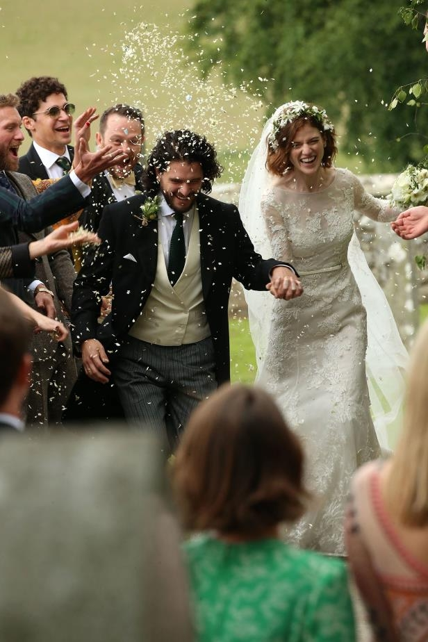 Slide 40 of 77: The Game of Thrones stars tied the knot on June 23 in a romantic ceremony at Kirkton of Rayne church in Scotland. The star-studded celebration — which included many of their costars as guests — continued at the bride's family's castle.