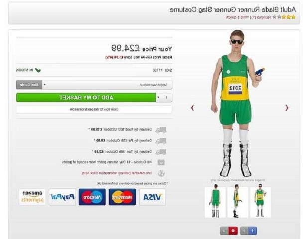 4b8373c5c Fury as an online joke shop sells an Oscar Pistorius Halloween outfit  including blades and a