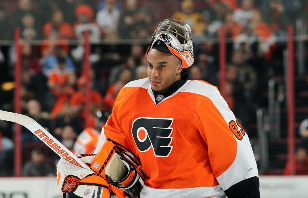 Slide 29 of 95: PHILADELPHIA, PA - JANUARY 20:  Ray Emery #29 of the Philadelphia Flyers looks on during a timeout against the Pittsburgh Penguins on January 20, 2015 at the Wells Fargo Center in Philadelphia, Pennsylvania.  (Photo by Len Redkoles/NHLI via Getty Images)