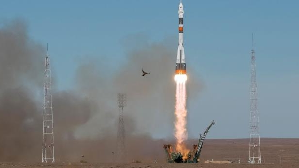 The Soyuz MS-10 spacecraft carrying the crew of astronaut Nick Hague of the U.S. and cosmonaut Alexey Ovchinin of Russia blasts off