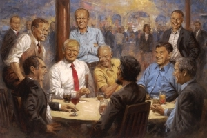 That Painting of Trump Having a Diet Coke With Abraham Lincoln Is Now Hanging in the White House