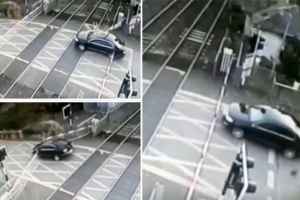 Shocking moment driver ploughs through Irish Rail level crossing