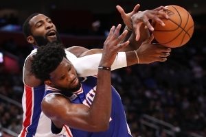 76ers' Joel Embiid: 'I own a lot of real estate' in Pistons center Andre Drummond's head