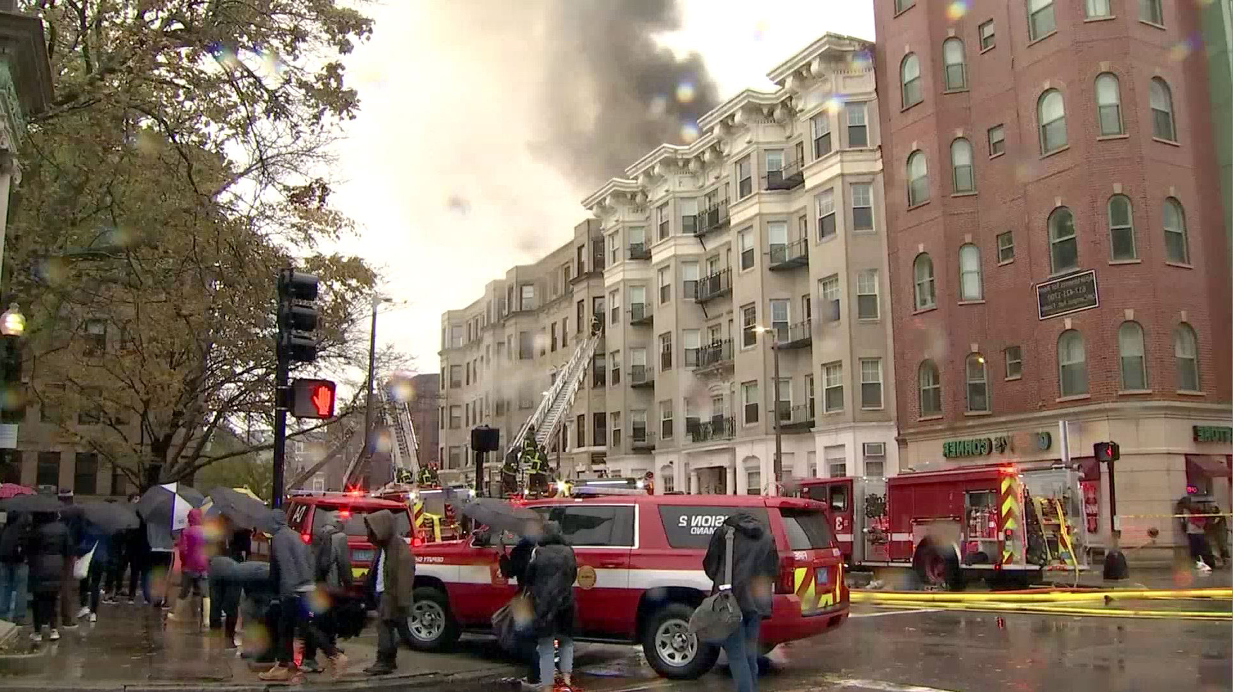 70 students displaced after fire blazes through Boston apartment building