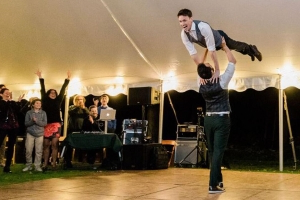 Groom and Groom Perform Epic 'Dirty Dancing' Lift at Their Wedding Reception