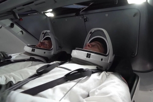 NASA astronauts test SpaceX spacesuits in the Crew Dragon