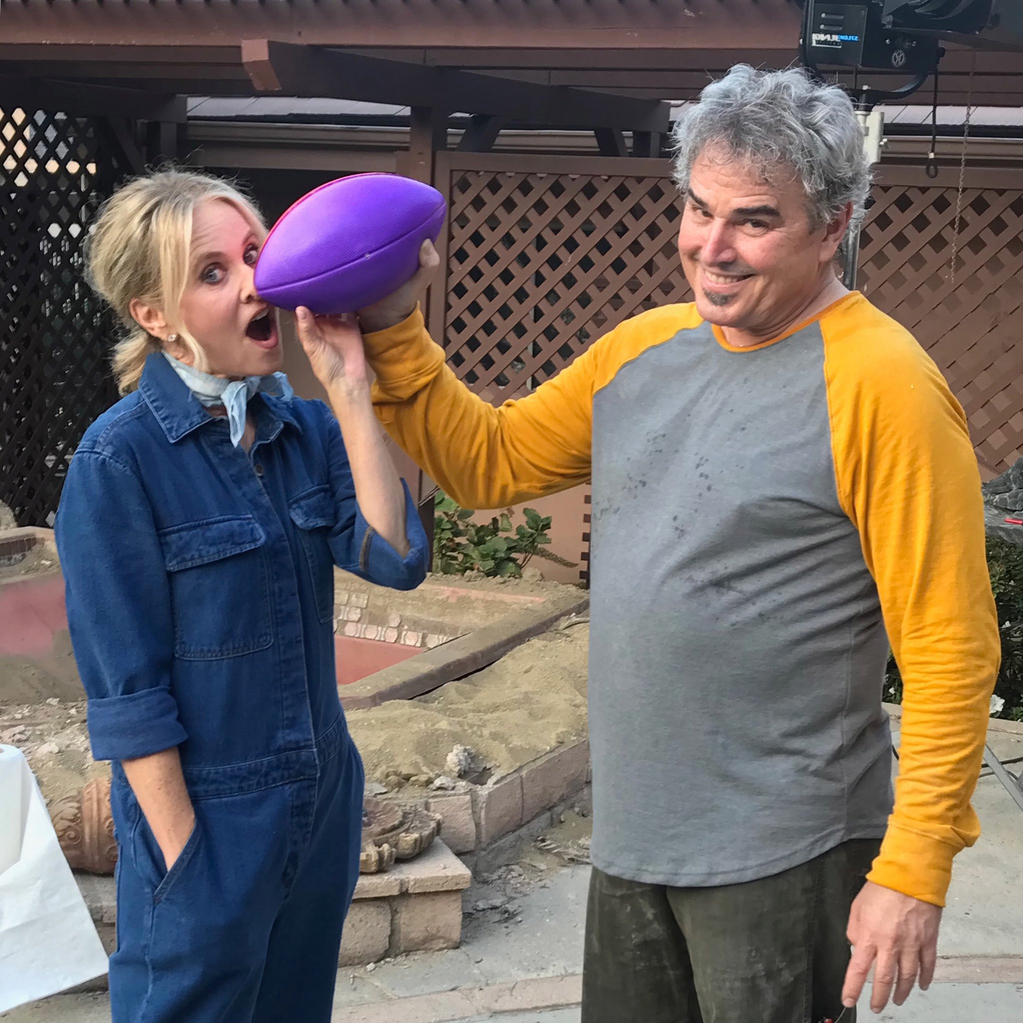 Brady Bunch's Maureen McCormick Takes a Football to the Nose for Christopher Knight's Birthday