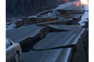 Highway collapse, widespread damage from Alaska quake shown in pictures shared on social media