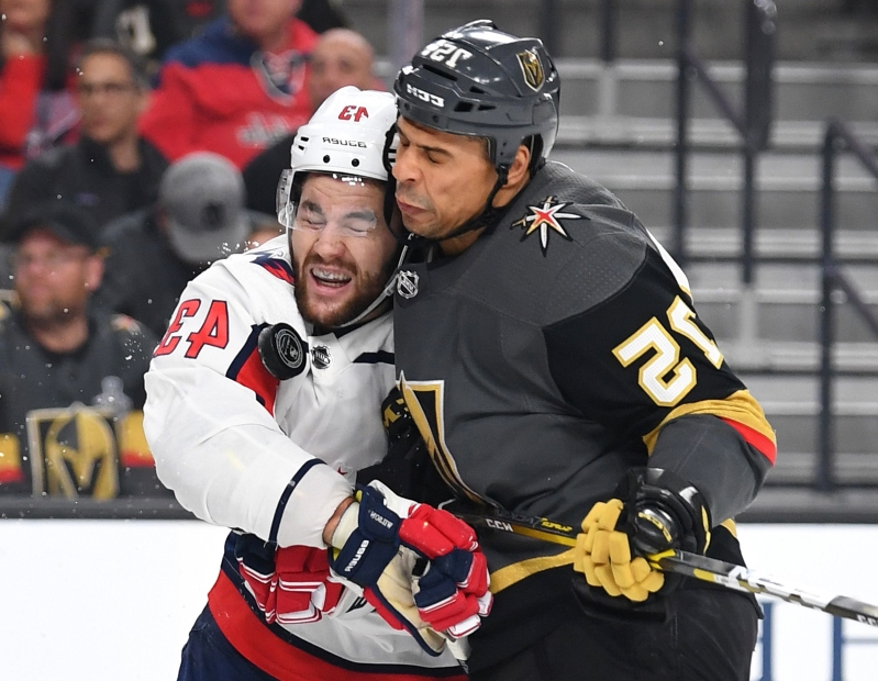 ac0e45ee7da Golden Knights' Ryan Reaves ejected for late hit that injures Capitals' Tom  Wilson