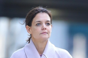 Katie Holmes steps out makeup free in her sweats as she nips to the grocery store back home in New York