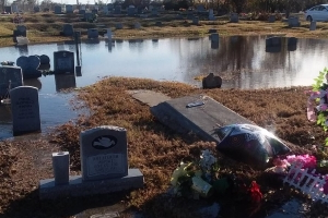 'God is responsible' for repairs, a cemetery reportedly said after flooding exposed caskets