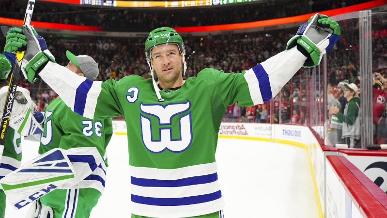 dc71a0f1990 Carolina Hurricanes left hockey fans conflicted with throwback Hartford  Whalers night