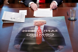 President Trump features 'Game of Thrones'-style poster during Cabinet meeting: 'Sanctions are coming'