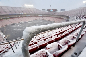 Arrowhead Stadium is covered in snow ahead of Chiefs-Colts