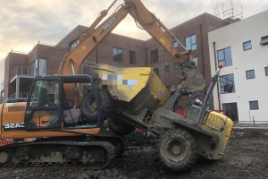 Bizarre construction vehicle collision in Lucan sees one person taken to hospital