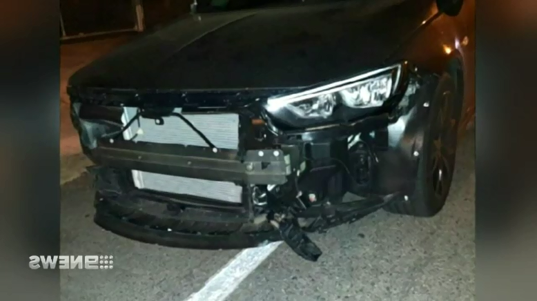 Police car rammed by stolen BMW