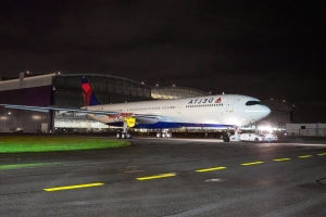 Delta's First Airbus A330-900neo Rolls out of the Paint Shop
