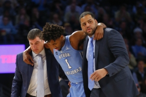 North Carolina cruises past Georgia Tech 77-54, but loses key freshman to injury