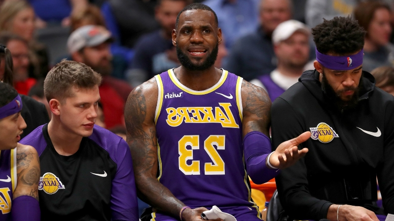 8727146c2db2 LeBron James was alone on the Lakers  bench and NBA fans had plenty of jokes