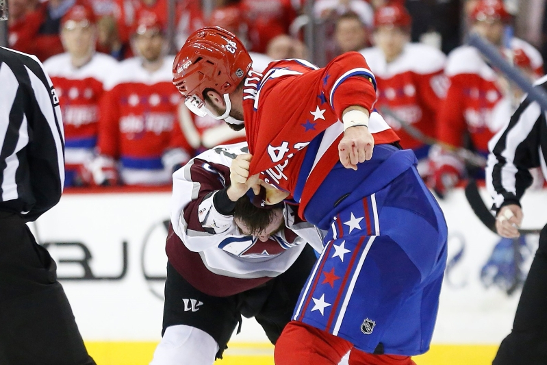 a1cfc7b442c Capitals  Tom Wilson destroys Avalanche s Ian Cole in bloody fight after  questionable hit