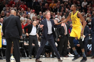 A very angry Steve Kerr got ejected after spiking his clipboard and going off on ref