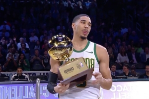Jayson Tatum hit a half-court shot to stun Trae Young in the Skills Challenge