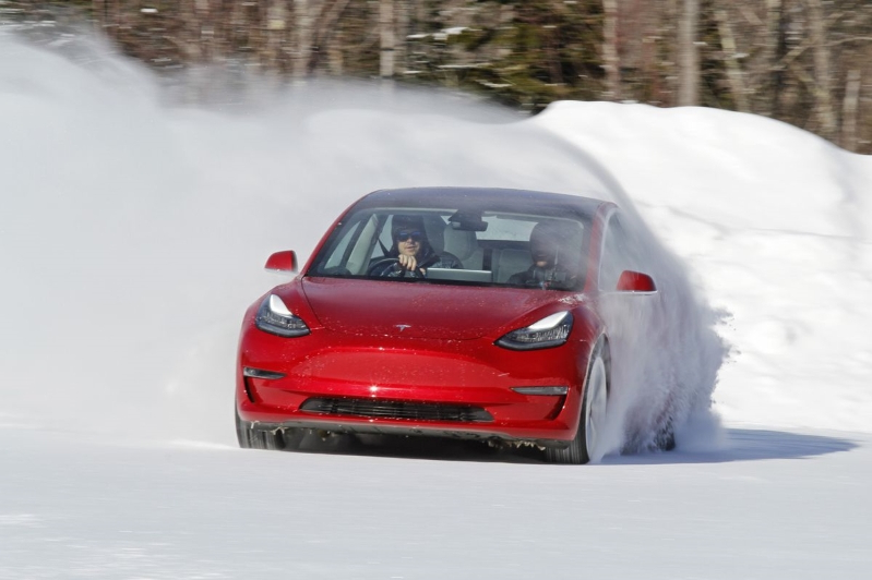 Image result for tesla model 3 snow