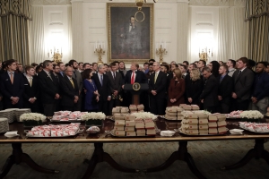 Trump celebrates North Dakota football champs with fast food
