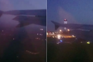 Terrifying footage shows plane abort landing at Dublin Airport at last second