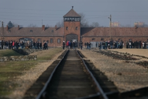 Auschwitz tells people to stop taking photos on train tracks