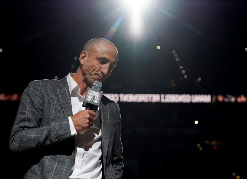 5fc3955364b Sport: Spurs retire Ginobili's jersey during emotional ceremony ...