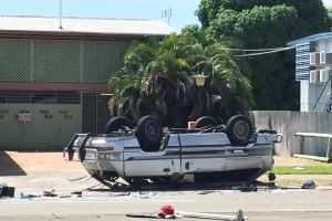 Children charged after 'stolen' mini-van crashes in Townsville , two critically injured