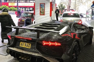She's car-azy! Russian Instagram star has TWO MILLION Swarovski crystals stuck to the bodywork of her £270,000 Lamborghini Aventador in London