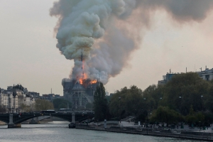 Paris' historic Notre-Dame Cathedral hit by fire