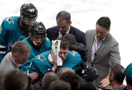 Sharks' Pavelski exits Game 7 with scary injury