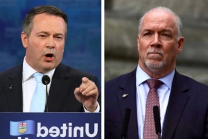 John Horgan reacts to Jason Kenney's comments as B.C. signals intent to fight 'turn-off-the-taps' law