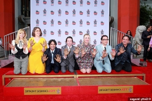 Kaley Cuoco leads her Big Bang Theory co-stars during handprint ceremony in Hollywood... after wrapping 12-year series