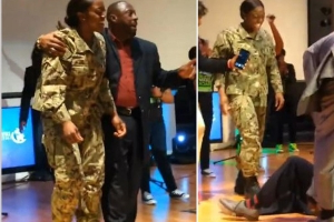 Dancing Dad Falls to the Floor When Navy Daughter Stuns Him at Church