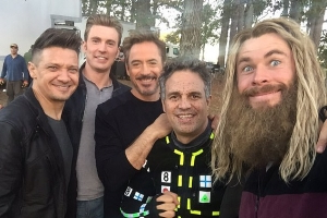 Avengers: Endgame stars Chris Evans, Chris Hemsworth and Robert Downey Jr. share behind-the-scenes footage after directors end 'spoiler ban'