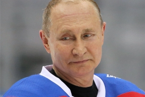 The presidential faceplant: Vladimir Putin falls on his face in embarrassing tumble on carelessly positioned carpet while celebrating scoring eight goals in all-star hockey game