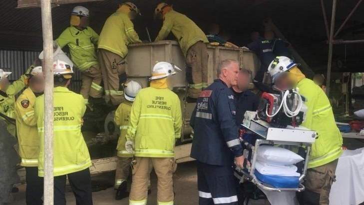 Man critical after his legs were trapped in farm machine for two hours